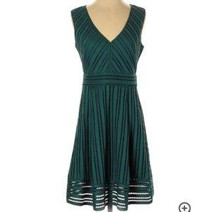 J.Crew  V Neck Lace Striped Green Dress Size 4